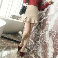 【】半身裙韩版高腰修身显瘦荷叶边裙百搭毛呢短裙