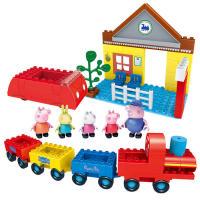 小猪佩奇邦宝益智大颗粒积木儿童玩具坐火车去游玩A06239