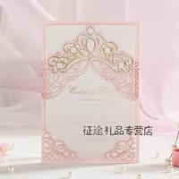 欧式粉色请帖结婚创意小清新喜帖请柬定制照片打印婚礼用品 100份 粉红色 100份
