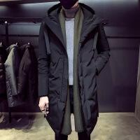 冬季羽绒服男中长款2018新款加厚韩版修身潮流帅气连帽男士外套 黑色