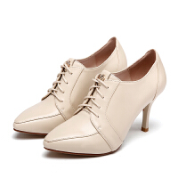 红蜻蜓女鞋真皮休闲鞋单鞋粗跟防水台皮面米白色高跟鞋