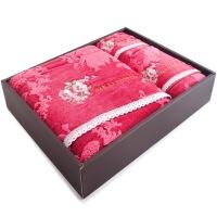 三利 毛巾礼盒 绣花蕾丝边毛巾两条装 精致高级礼盒方巾毛巾浴巾三件套 赠手提袋 爱莎公主