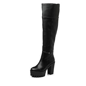 Tata/他她 年时尚休闲人造革/牛皮革女靴2H791DC5