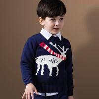 男童毛衣2018新款秋冬装中大儿童针织毛线衫套头加厚保暖加绒圣诞