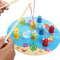 木质儿童磁性钓鱼玩具一岁半宝宝1-2-3周岁男女孩婴幼儿套装