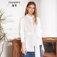 海贝2018春季新款女装 方领长袖收腰系带不对称下摆白色纯棉衬衫