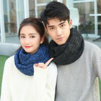 情侣款韩版秋冬季保暖男士毛线围脖套头学生女冬天针织加厚围巾潮