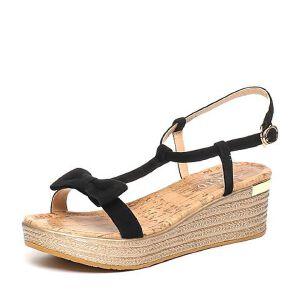 BASTO/百思图夏季专柜同款羊皮时尚简约坡跟女凉鞋TG206BL6