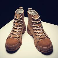 秋冬季男鞋高帮马丁靴英伦男靴帆布沙漠工装中帮厚底增高短军靴潮