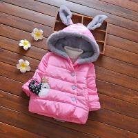 童装女小童棉衣外套加厚婴幼儿童卡通连帽中长款加绒羽绒棉袄 7233小鱼外套 粉色