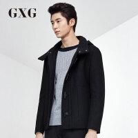 GXG大衣男装 秋季男士时尚休闲潮流修身短款羊毛呢外套#53206413