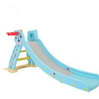 儿童室内滑梯家用宝宝滑滑梯折叠小鹿音乐滑梯塑料玩具加长小型 蓝色小猫带篮框带底座+感应音乐 送小球