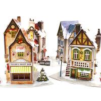 立体拼图圣诞城堡小屋发光拼装模型房子创意儿童diy玩具