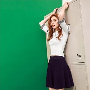 【7折价87元】一字领针织衫女2018春装新款韩版甜美五分袖修身显瘦短款打底毛衣