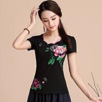 民族风短袖t恤女上衣 夏装新款绣花修身中国风大码刺绣打底衫