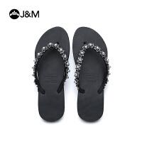 jm快乐玛丽2018夏季镶珠素色平底凉拖沙滩女士人字拖鞋凉鞋T1038W