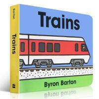 【全店300减100】名家入门启蒙 Trains Byron Barton 纸板书 英文绘本 男孩0至3岁