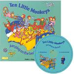 英文原版 Ten Little Monkeys 十个小猴握握手 附CD 超大开本 Child's Play儿歌洞洞书