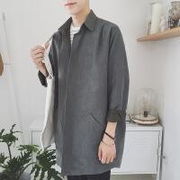 日系复古潮流原宿风中长款风衣男士秋季新款宽松外套韩版衬衫