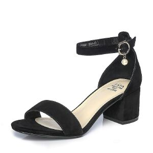 Tata/他她夏季羊皮甜美珍珠一字带粗跟女凉鞋81066BL7
