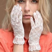 新娘婚纱蕾丝手套女开车夏季短款手套女士手套遮疤痕薄款搭配手套 均码