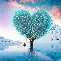 新款结婚蓝色爱心树风景满欧式贴十字绣