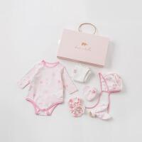 戴维贝拉新款婴幼儿衣服女0-1岁宝宝礼盒套装DBH10013