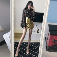 2018春季新款韩版时尚灯笼袖蝴蝶结绑带花朵上衣+A字亮面半身裙女