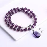 紫水晶项链项坠女士情侣款多层宝石水滴切面饰品日韩 紫水晶项链