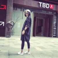 【 春放价 满199-100】2018韩版春秋新款牛仔外套长袖中长款宽松上衣女装