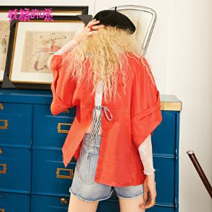 【低至1折起】妖精的口袋韩版衬衣秋装2018新款通勤chic系带宽松短袖衬衫女