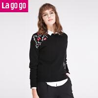 【满200减100】Lagogo毛衣拉谷谷2017春季新款打底衫长袖圆领套头黑色针织衫女GAMM41O102