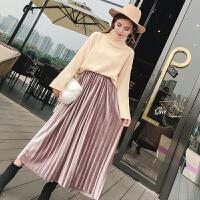 冬季新款韩版宽松加厚高领套头毛衣+高腰百褶半身裙两件套装
