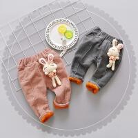 冬季女宝宝加绒加厚灯芯绒裤子女童0-1-2-3岁冬裤子外穿新款韩版秋冬新款