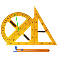 磁性大号教学用尺规套装 塑料三角板带指针量角器圆规演示用小学数学教具 初中仪器学校教室用黑板演示磁吸附