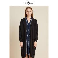 伊芙丽冬装新款韩版时尚女装欧洲站针织衫女中长款开衫外套女