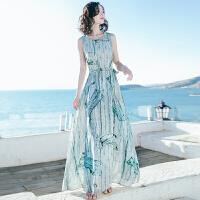 夏季新品女装修身圆领系带无袖雪纺长裙连衣裙海边度假沙滩裙 图片色XZA6