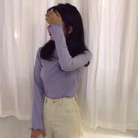 秋季女装韩版糖果色坑条修身显瘦长袖T恤学生纯色卷边打底衫上衣新款高领2018秋冬长袖t恤打底上衣打底 均码