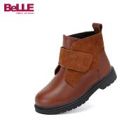【3折价:137.7元】百丽Belle童鞋18冬季新款简约时尚质感靴子女童加绒保暖透气短靴小皮靴(5-10岁可选)DE