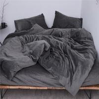 良品天鹅绒四件套短毛珊瑚绒法兰绒秋冬加厚床笠磨毛床上用品 深灰 【深灰】 2.0m(6.6英尺)床 床笠款【套床垫】