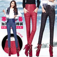 2018冬新款韩版修身加厚高腰羽绒裤女 外穿显瘦双面羽绒棉裤E