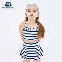 【2件4折】迷你巴拉巴拉泳装女童泳衣夏季新款女宝宝分体泳衣条纹游泳衣