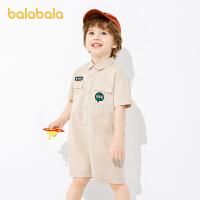 巴拉巴拉宝宝连体衣男童套装儿童夏装新款韩版工装连身衣薄款