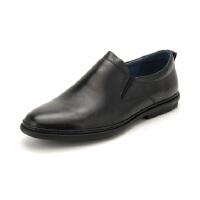 【领券减150】星期六男鞋(ST&SAT)18年新专柜同款头层牛皮轻便透气休闲商务皮鞋男SS83120132 黑色