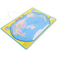 得力世界地图拼图磁性拼图 儿童拼插玩具 地图认知板 蓝色18051