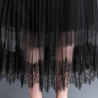 蕾丝裙网纱半身裙女百褶裙夏季大码高腰黑色字裙纱裙半身长裙子