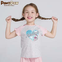 【3件3折 到手价:77】Pawinpaw卡通小熊童装夏款女童棉质短袖中大童圆领荷叶袖T恤