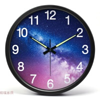 挂钟客厅创意 个性强夜光数字时钟静音 卧室金属大壁钟14英寸挂表 夜光数字 黑色边框 14英寸