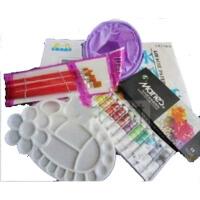 儿童小学生入门马利水彩水粉颜料12色+笔筒+画笔+水粉纸 5件套装 水粉画材