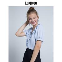 Lagogo/拉谷谷V领短袖雪纺衫2018秋季新款女装花边条纹泡泡袖上衣HCSS326C12